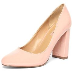 Dorothy Perkins Blush 'Dafney' Block Heel Court Shoes (1.235 CZK) ❤ liked on Polyvore featuring shoes, pumps, pink, pink patent leather pumps, pink shoes, heel pump, patent pumps and block heel court shoes