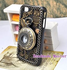 Steampunk Retro Gothic Style iPhone 5 4s 4 Case Cover, Vintage Antique Bronze Brass Clock Watch Owl Bicycle Love Heart. $16.90, via Etsy.