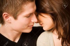 Young Couple In Love, Face To Face Stock Photo, Picture And ...