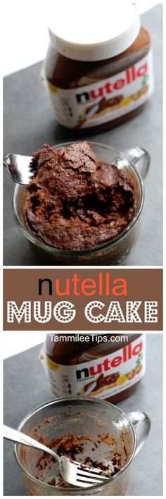 Super easy Nutella Mug Cake Recipe! Delicious in a mug desserts recipes make me happy! They are the perfect size for a sweet treat without the guilt of eating an entire cake.  via @tammileetips