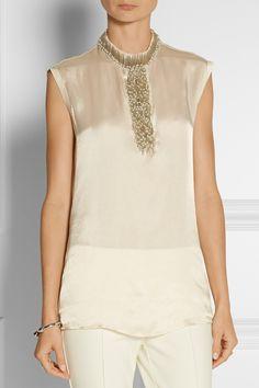 Lanvin Bead-embellished satin blouse