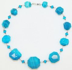 Faceted Freeform Blue Crack Agate And Blue Topaz Sterling Silver Handmade Statement Necklace