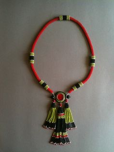 Black Red Green Tassel Necklace. Seed bead woven, bead embroidery by Jeka Lambert. Glass beads, seed beads, bugle beads.