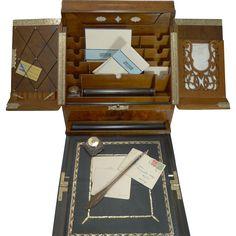 Top-Notch Antique English Walnut Stationery Cabinet / Writing Box c.1880