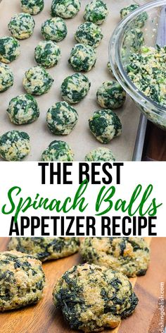 Serve up these super easy and tasty Spinach Balls. A fantastic appetizer to serve up your guests. A great recipe for a crowd or for a holiday party. More from my siteEasy Spinach Puffs (+VIDEO) Vegetarian Appetizers, Yummy Appetizers, Vegetarian Recipes, Healthy Recipes, Party Appetizer Recipes, Spinach Appetizers, Vegetable Appetizers, Dinner Recipes, Gluten Free Appetizers