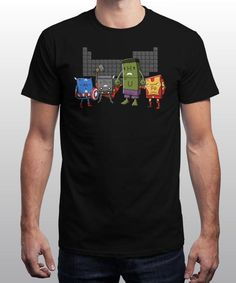 """""""Chemical Avengers"""" is today's £8/€10/$12 tee for 24 hours only on www.Qwertee.com Pin this for a chance to win a FREE TEE this weekend. Follow us on pinterest.com/qwertee for a second! Thanks:)"""