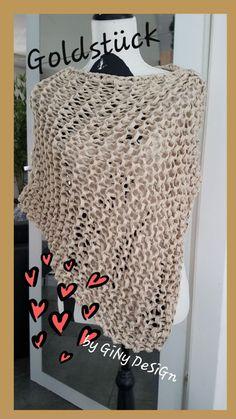 Goldstück Chunky Poncho Lagertha, Crochet Hats, Design, Fashion, Chain Mail, Handarbeit, Creative, Knitting Hats, Moda