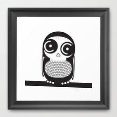 Owl Framed Art Print by nitoca - $32.00