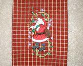 Christmas Embroidered Towel - Christmas Curls Stocking. $8.99, via Etsy.