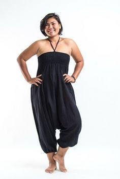 Plus Size Solid Black Jumpsuit Harem Pants