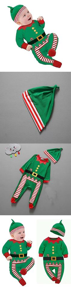 Baby Clothes Outfits Boy Girl Kids Romper Hat Cap Set Christmas Gift 12-18Months Green