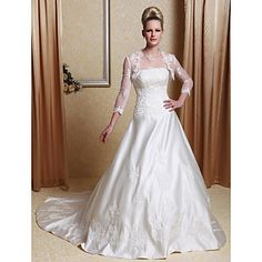 A-line Scalloped-Edge Neckline Court Train Satin Wedding Dress With A Wrap  – USD $ 197.99
