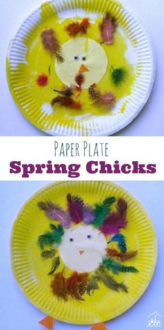 Have fun turning Paper Plates into our Coloruful Spring Chicks. Ideal for an Easter Preschool theme.Perfect for kids of all ages to make together. Paper Plate Crafts For Kids, Preschool Arts And Crafts, Creative Activities For Kids, Fun Summer Activities, Easy Crafts For Kids, Easter Crafts, Projects For Kids, Art For Kids, Preschool Activities