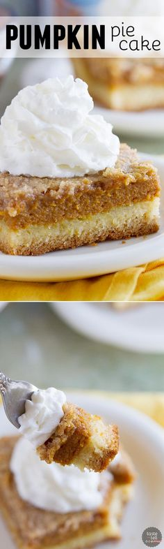 A favorite holiday staple turned into an easy and delicious cake! This Pumpkin Pie Cake has a cake crust with a creamy pumpkin center and a crunchy topping - a favorite the whole family loves!