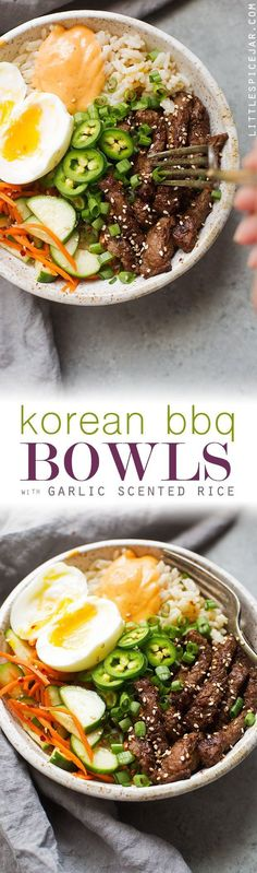 Korean BBQ Bowls with Garlic Scented Rice - Warm, comforting bowls with marinated steak, garlic rice, and a pickled cucumber salad. It's seriously amazing! #koreanbbqbowls #bowls #garlicrice | http://Littlespicejar.com