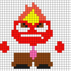 Anger From Inside Out Perler Bead Pattern / Bead Sprite Fuse Bead Patterns, Kandi Patterns, Perler Patterns, Beading Patterns, Pearler Beads, Fuse Beads, Crochet C2c Pattern, Inside Out Characters, Hama Beads Disney