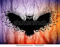 Halloween card with fairytale scene, flying magic owl above dark forest. Halloween background with frame from owl and copy space for your text.