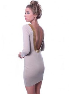 Sexy Sand Color Dress with Open Back,  Dress, body con  long sleeves  plunge back, Chic