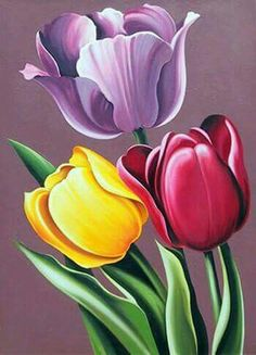 Lowell Blair Nesbitt, Tulipa Hybrida, Oil Painting - May 2013 Tulip Drawing, Tulip Painting, Fabric Painting, Painting & Drawing, Oil Painting Flowers, Abstract Paintings, Oil Paintings, Arte Floral, Pictures To Paint
