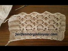 Tığ İşi Çift Taraflı Yelek Modeli - YouTube Filet Crochet, Crochet Motifs, Crochet Stitches, Knit Crochet, Crochet Hats, Knitting Stiches, Knitting Patterns, Crochet Patterns, Crochet Sachet