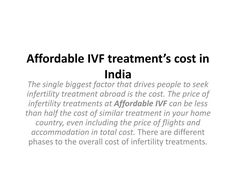 Affordable IVF treatment's cost in India