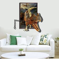 Jurassic World Dinosaur Out Wall Decals Sticker Vinyl Mural - 3d dinosaur wall decalsd dinosaur wall stickers for kids bedrooms jurassic world wall