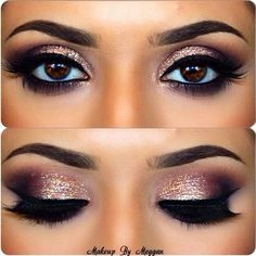 Eye Makeup Tips.Smokey Eye Makeup Tips - For a Catchy and Impressive Look Blue Eye Makeup, Love Makeup, Makeup Inspo, Makeup Inspiration, Amazing Makeup, Glitter Makeup, Pink Glitter, Eye Shadow Glitter, Eyeshadow With Glitter