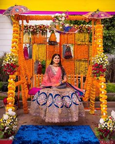Let's jump to the list of off-beat Mehndi ceremony decoration ideas, that will lit up your decor in the best way, unique mehndi decor ideas Indian Wedding Theme, Outdoor Indian Wedding, Desi Wedding Decor, Luxury Wedding Decor, Marriage Decoration, Wedding Stage Decorations, Wedding Mandap, Outdoor Weddings, Indian Weddings
