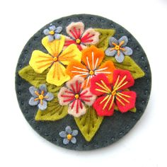 Felt brooch with embroidery (For sale on Etsy)