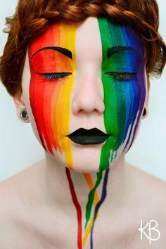 Rainbow face makeup, Iris. Love the hair too.