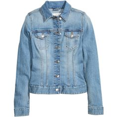 Denim Jacket $39.99 (52 CAD) ❤ liked on Polyvore featuring outerwear, jackets, denim jacket, button jacket, blue denim jacket, tailored denim jacket, blue jean jacket and tailored jacket