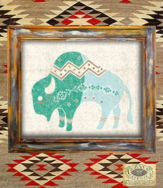 buffalo-southwest-native american-navajo-americana-indian-rustic-antique-vintage-print-art print-wall print-home decor-poster