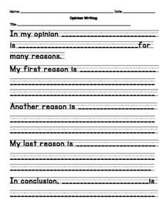 Use this opinion template to allow your students to gain an understanding of the opinion writing structure. How I used it:I had my students use this as their rough draft. It was a great way for them to learn the transition words.