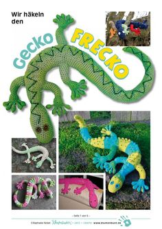 Gecko Frecko Toy - My son would have loved this when he was a boy .. free pattern!
