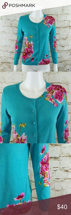 """Talbots perfect beautiful Spring cardigan Gorgeous fine knit Talbots front button cardigan, bright teal blue with pretty flower print excellent condition 20"""" across from armpit to armpit and 24"""" long from shoulder to hem Talbots Sweaters Cardigans"""