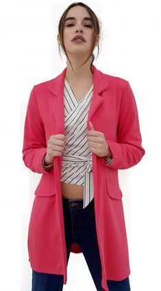 8742640f1128 Γυναικείο μακρύ soft blazer σε ίσια γραμμή - Φούξια