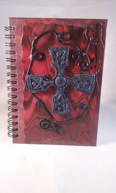 Polymer clay A6 hardback Celtic cross journal by MysticalForestUK
