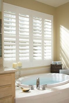 Composite shutters are perfect for high moisture areas like the bath because they resist warping! #BudgetBlindsofHarrisburg