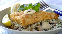 Garlic and Herb Crumbed Hake With Savoury Rice recipe Savoury Rice Recipe, Savory Rice, Fish Recipes, Seafood Recipes, Dinner Recipes, Recipies, Fish Burger, Lentils And Rice, Food Dinners