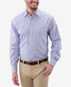 Tommy Hilfiger Men's Classic Fit Non-Iron Stripe Dress Shirt - Tan/Beige 17.5 34/35