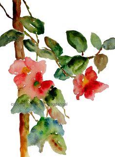 Flowers on Vine 2 Watercolor, Print 8x10, Watercolor Flowers. $20.00, via Etsy.