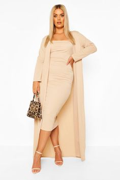 Plus Bandeau Dress & Duster Co-ord Plus Size Formal Dresses, Evening Dresses Plus Size, Plus Size Outfits, Mocha Dress, Office Dresses For Women, Bandeau Dress, Beige Outfit, Fitted Midi Dress, Royal Dresses