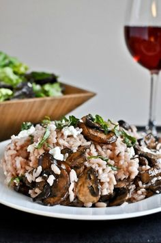 Red Wine + Goat Cheese Risotto with Caramelized Mushrooms.*
