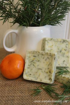 [ DIY: Rosemary-Citrus Goats Milk Soap Recipe ] Made with goats milk base, citrus essential oil, rosemary, orange rind. ~ from the Everyday Home Blog