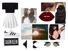 """i love beach outfits"" by lilianaduarte1234 ❤ liked on Polyvore featuring Calvin Klein, Melissa Odabash, Justin Bieber, Rosetta Getty, adidas, Lime Crime and Ray-Ban"