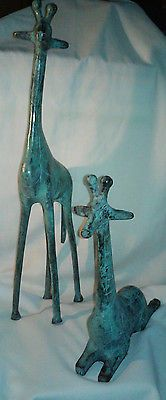2 Vintage large brass giraffes  from India