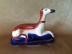 Staffordshire Ware, Greyhound or Whippet, Made in England, Pen Holder Figurine, Vintage Greyhound, Porcelain, Home or Office Decor, Dog Gift