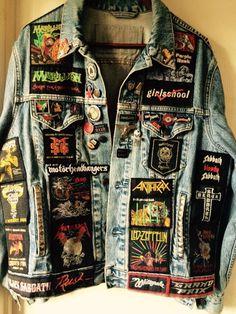 Battle Jackets are cool too Punk Jackets, Cool Jackets, Punk Outfits, Cool Outfits, Fashion Outfits, Hard Rock, Custom Clothes, Diy Clothes, Denim Jacket Men
