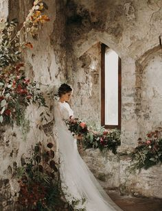 Moody Castle Wedding in Wales with Overgrown Florals, TRAVEL, castle bridal portraits vintage lace wedding dress. Wedding Locations California, California Wedding, Vintage Wedding Photography, Bridal Photography, Photography Poses, Trendy Wedding, Dream Wedding, Spring Wedding, Luxury Wedding