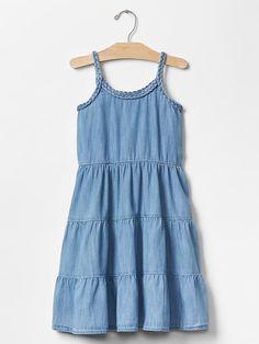 1969 braided denim tier dress Product Image